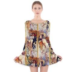 Alfons Mucha 1895 The Four Seasons Long Sleeve Velvet Skater Dress