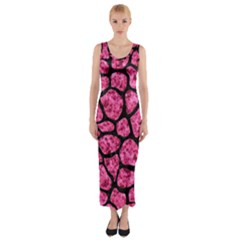 SKN1 BK-PK MARBLE Fitted Maxi Dress
