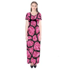 Skin1 Black Marble & Pink Marble Short Sleeve Maxi Dress