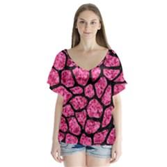 Skin1 Black Marble & Pink Marble V Neck Flutter Sleeve Top