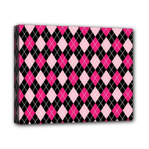Argyle Pattern Pink Black Canvas 10  x 8