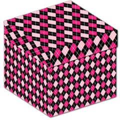 Argyle Pattern Pink Black Storage Stool 12