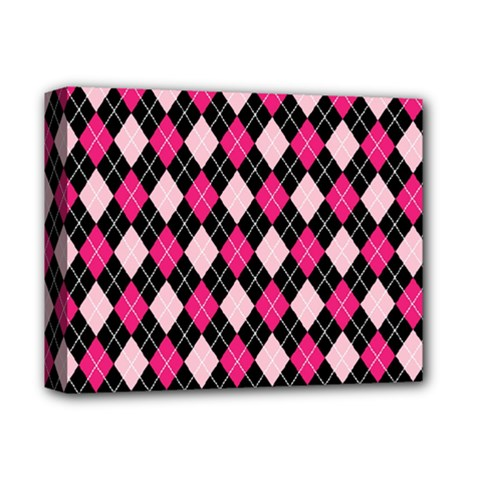 Argyle Pattern Pink Black Deluxe Canvas 14  x 11