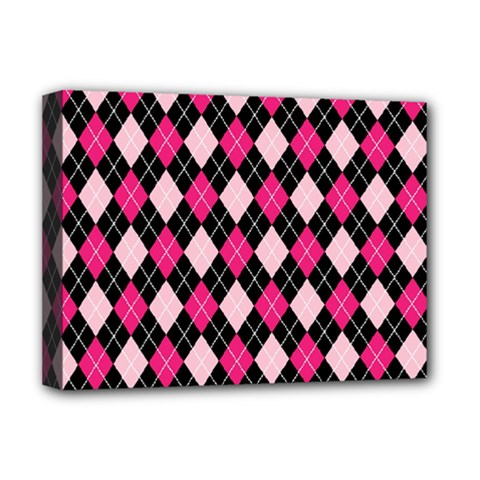 Argyle Pattern Pink Black Deluxe Canvas 16  x 12