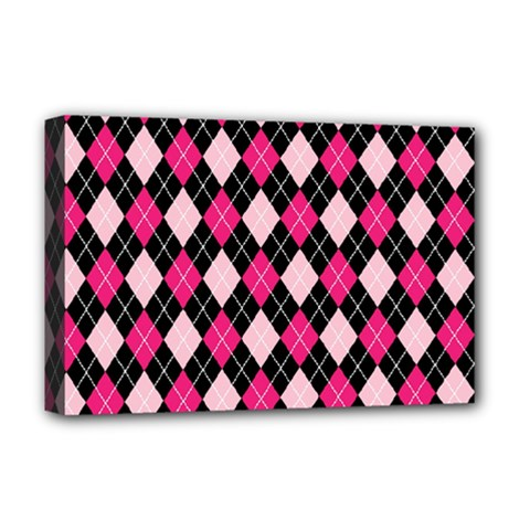 Argyle Pattern Pink Black Deluxe Canvas 18  x 12