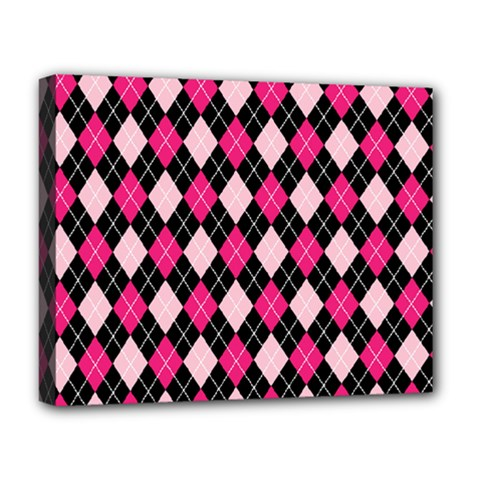 Argyle Pattern Pink Black Deluxe Canvas 20  x 16