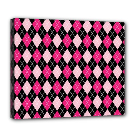 Argyle Pattern Pink Black Deluxe Canvas 24  x 20