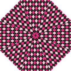 Argyle Pattern Pink Black Golf Umbrellas