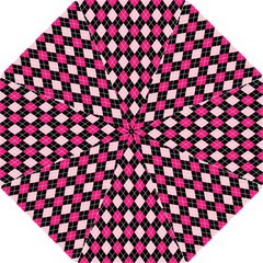 Argyle Pattern Pink Black Hook Handle Umbrellas (Large)