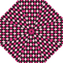 Argyle Pattern Pink Black Hook Handle Umbrellas (Small)