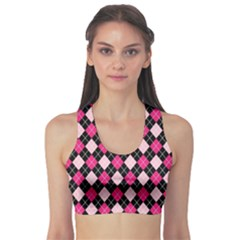 Argyle Pattern Pink Black Sports Bra
