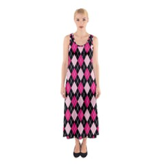 Argyle Pattern Pink Black Sleeveless Maxi Dress