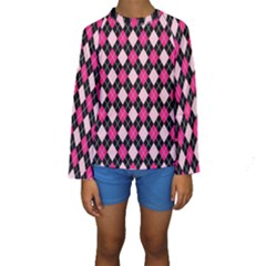 Argyle Pattern Pink Black Kids  Long Sleeve Swimwear