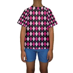 Argyle Pattern Pink Black Kids  Short Sleeve Swimwear