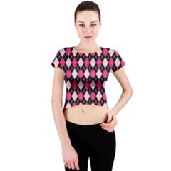 Argyle Pattern Pink Black Crew Neck Crop Top