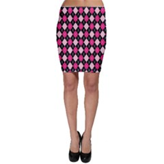 Argyle Pattern Pink Black Bodycon Skirt