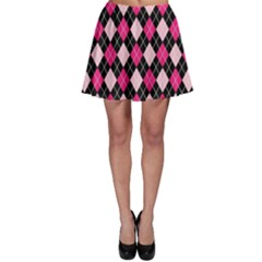 Argyle Pattern Pink Black Skater Skirt