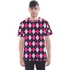 Argyle Pattern Pink Black Men s Sport Mesh Tee