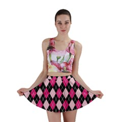 Argyle Pattern Pink Black Mini Skirt