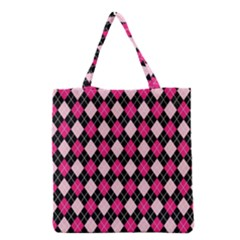 Argyle Pattern Pink Black Grocery Tote Bag