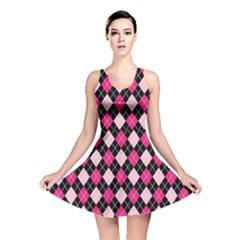 Argyle Pattern Pink Black Reversible Skater Dress
