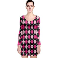 Argyle Pattern Pink Black Long Sleeve Bodycon Dress