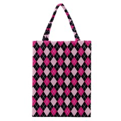 Argyle Pattern Pink Black Classic Tote Bag