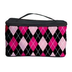 Argyle Pattern Pink Black Cosmetic Storage Case