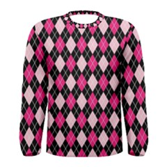 Argyle Pattern Pink Black Men s Long Sleeve Tee