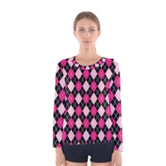 Argyle Pattern Pink Black Women s Long Sleeve Tee