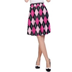 Argyle Pattern Pink Black A-Line Skirt