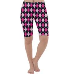 Argyle Pattern Pink Black Cropped Leggings