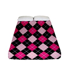 Argyle Pattern Pink Black Fitted Sheet (Full/ Double Size)