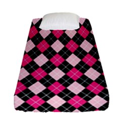 Argyle Pattern Pink Black Fitted Sheet (Single Size)