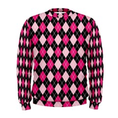 Argyle Pattern Pink Black Men s Sweatshirt