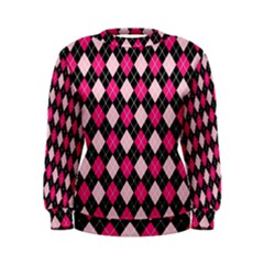 Argyle Pattern Pink Black Women s Sweatshirt