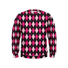 Argyle Pattern Pink Black Kids  Sweatshirt