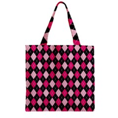 Argyle Pattern Pink Black Zipper Grocery Tote Bag