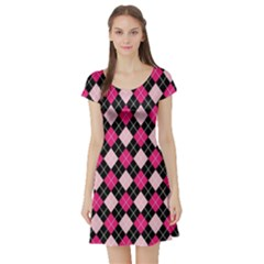 Argyle Pattern Pink Black Short Sleeve Skater Dress