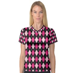 Argyle Pattern Pink Black Women s V-Neck Sport Mesh Tee