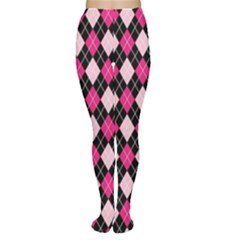 Argyle Pattern Pink Black Women s Tights