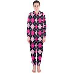Argyle Pattern Pink Black Hooded Jumpsuit (Ladies)