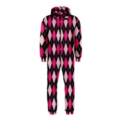 Argyle Pattern Pink Black Hooded Jumpsuit (Kids)