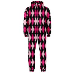 Argyle Pattern Pink Black Hooded Jumpsuit (Men)