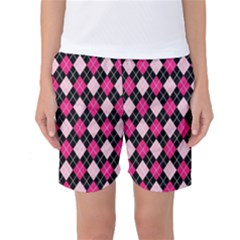 Argyle Pattern Pink Black Women s Basketball Shorts