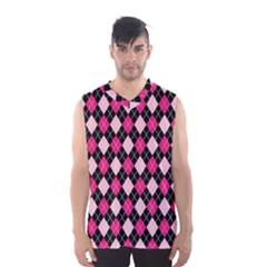 Argyle Pattern Pink Black Men s Basketball Tank Top