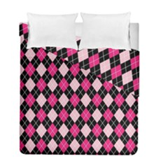 Argyle Pattern Pink Black Duvet Cover Double Side (Full/ Double Size)