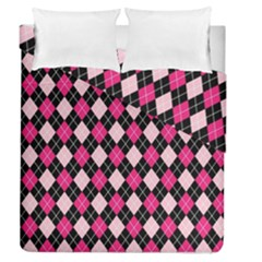Argyle Pattern Pink Black Duvet Cover Double Side (Queen Size)