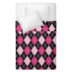 Argyle Pattern Pink Black Duvet Cover Double Side (Single Size)