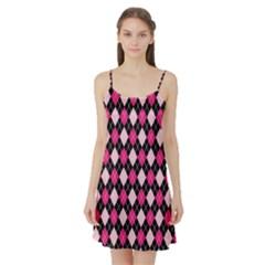 Argyle Pattern Pink Black Satin Night Slip